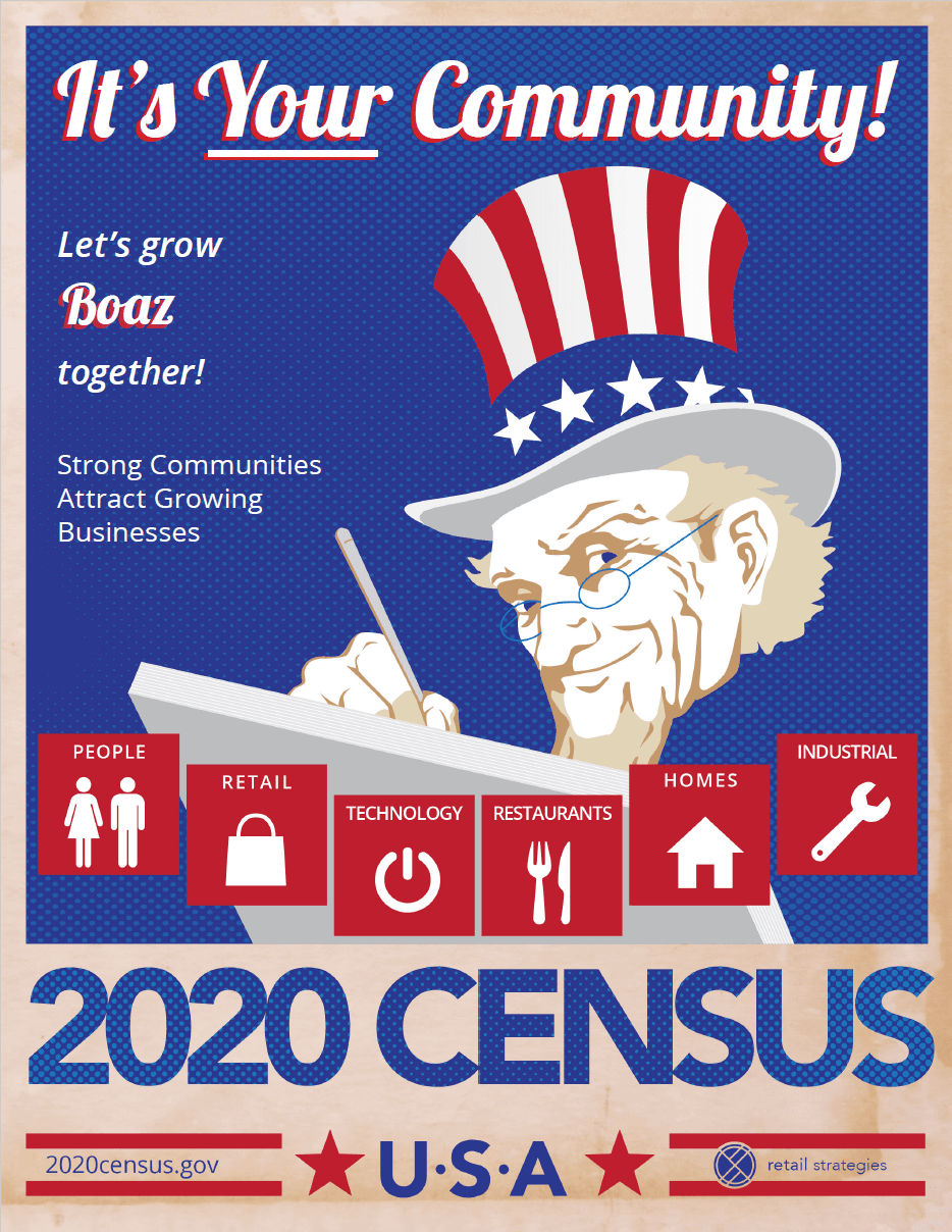 It's Your Community! Let's grow Boaz together! Strong communities attract growing businesses. 2020 Census (PNG) Opens in new window