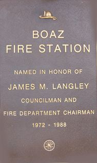 Boaz Fire Station Stone - Honoring James Langley